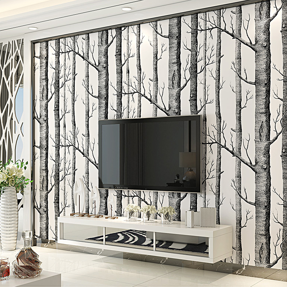 Colomac Black White Birch Tree Pattern Wallpaper Wood Modern Design Wall Paper For Bedroom Living Room Roll In Wallpapers From Home