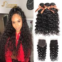 Joedir Water Wave Bundles With Closure Brazilian Human Hair Weave Bundles With Closure 3 Remy Wet And Wavy Bundles With Closure