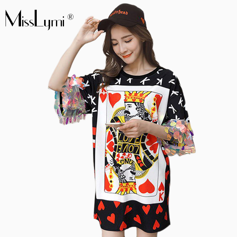 S-XXL Big Size Women Tops Summer 2018 Fashion Heart and Cartoon Poker Print Short Sleeve with Sequins Loose Casual Tee Shirts