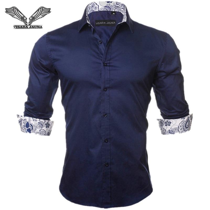Visada jauna Для мужчин рубашка Новинка 2017 года поступления мода Повседневное Стиль с длинным рукавом сплошной 100% хлопок Slim Fit платье мужской Рубашки для мальчиков n780