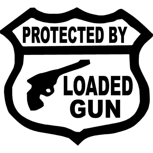 15 5x14cm protected by loaded gun ammo bullet rifle target dead originality vinyl decal car sticker