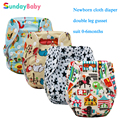 Printed animals pattern newborn cloth diaper, reusable baby nappies organic baby diaper cover diaper suit 0-3months