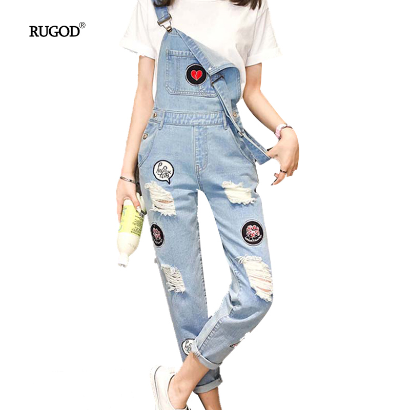 2018 New Arrivals Womens Jumpsuits Overalls Ripped Hole Patchwork Denim Jumpsuits Casual Spring Plus Size Rompers and Jumpsuits