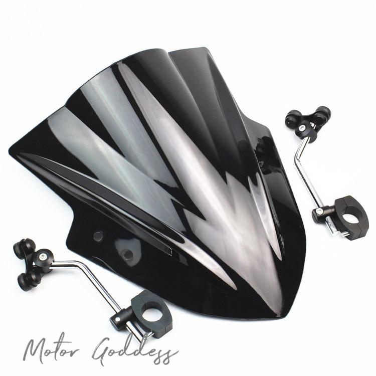 Motorcycle Windshield Windscreen With Adjustable Bracket Wind Screen For CFmoto 400nk 650NK 150nk 250nk