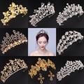 Baroque Vintage Crystal Rhinestone Pearl Butterfly Leaf Gold Silver Hair Crown Tiara Women Wedding Bridal Princess Headband New