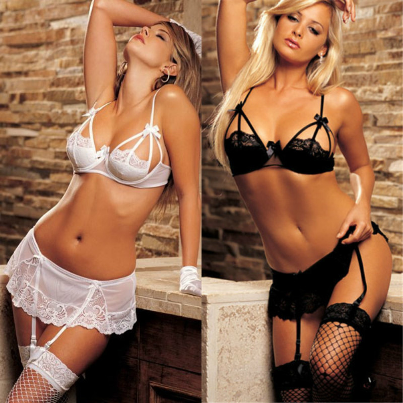 Sexy Lace Lingerie Garter belt temptation suit women hot exotic lingerie set porno underwear <font><b>Bikini</b></font> <font><b>sex</b></font> bra and G string thongh image