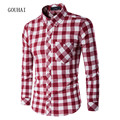 2016 New Autumn Winter Men Shirt Long Sleeve Shirt Mens Chemise Homme Camisa Social Masculina Plaid Shirt Men M-XXXL