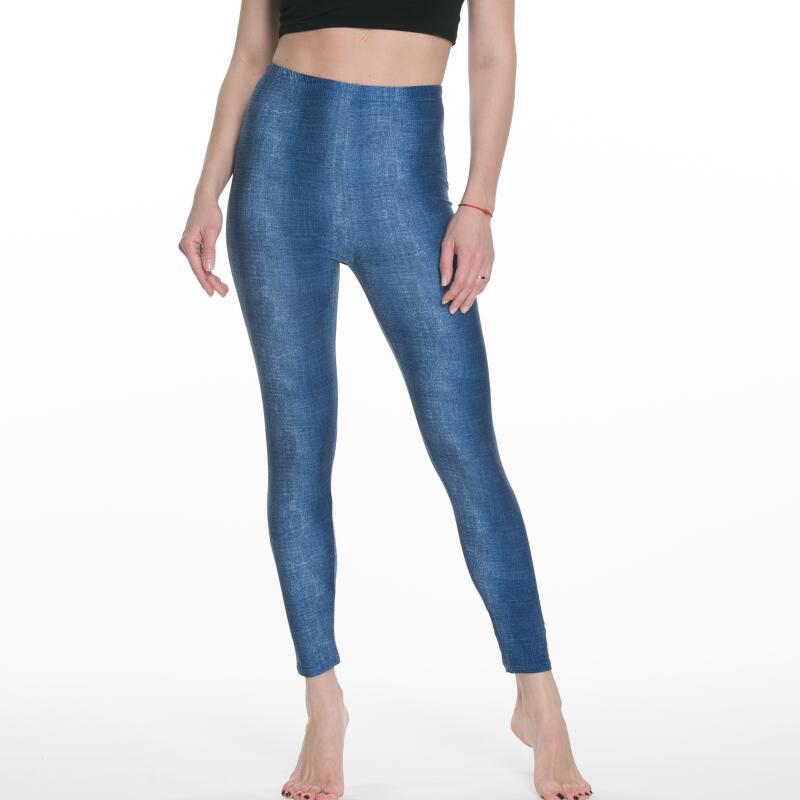 Women's Leggings Imitation Denim Waist Wearing Thin Stretch Fashion