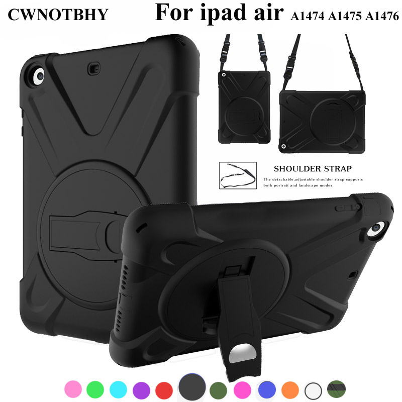 Case For iPad Air 1 Kids Safe Shockproof Heavy Duty Silicone Hard Cover kickstand  For iPad 5 A1474,A1475,A1476,+Shoulder Strap Case For iPad Air 1 Kids Safe Shockproof Heavy Duty Silicone Hard Cover kickstand  For iPad 5 A1474,A1475,A1476,+Shoulder Strap