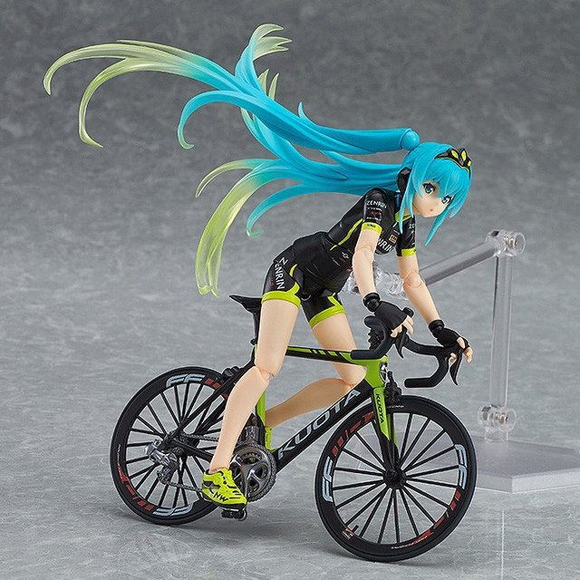 ¡Lindo Anime Vocaloid Hatsune Miku Figma 307 carreras de Miku 2015 TeamUKYO apoyo ver! Figura de acción de PVC juguetes de modelos coleccionables muñeca