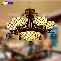 FUMAT Stained Glass Chandlier European style Classic Light Living Room Hotel Glass Art Light Fixtures Curtain Beads Chandeliers