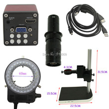 Cheaper HDMI VGA Dual Output Industrial Microscope Video Camera 10X-180X Optical C-Mount Lens LED Light Adjustable Lift Bracket