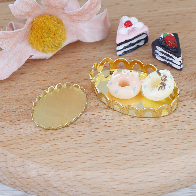 1/12 Dollhouse Miniature Accessories Mini Metal Fruit Tray Simulation Furniture Plate Model Toys For Doll House Decoration