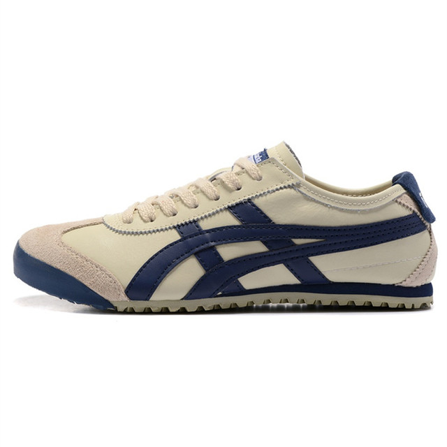 3013c84f6f5 ONITSUKA TIGER Mannen Sneakers MEXICO 66 Beige donkerblauw Leer Rubber  Anti-gladde Vrouwen Badminton Schoenen