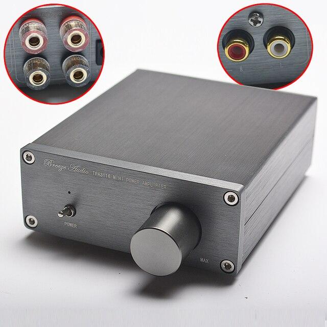 NEW Breeze аудио hi-fi класса 2,0 стерео аудио цифровой Мощность усилитель TPA3116 расширенный 2*50 Вт домашний мини-Алюминий корпус amp