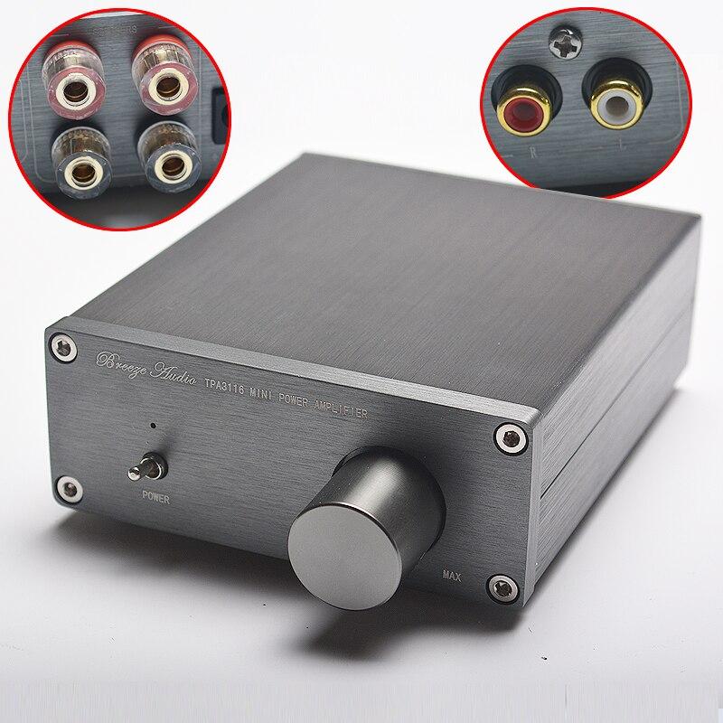 NEW Breeze Audio HiFi Class 2.0 Audio Stereo Digital Power Amplifier TPA3116 Advanced 2*50W Mini Home Aluminum Enclosure amp