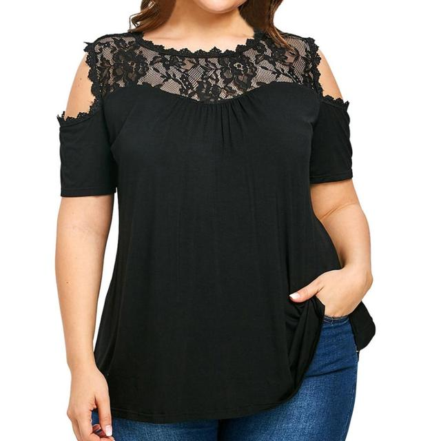 9ed7b8c4a94afa Women Blouses Summer Top Lace Black Cold Off Shoulder Tops Female Clothing  5XL Plus Size Ladies Tops