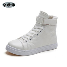Women canvas shoes for 2017 spring and autumn female High-top pure black white classic casual shoes footwear size 35-40
