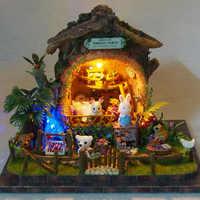 Casa De muñecas DIY miniatura Casa De muñecas modelo De madera con muebles Casa De Boneca juguetes-viaje De aventura