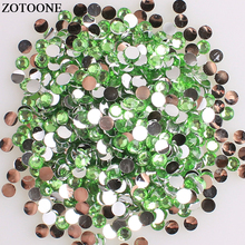 ZOTOONE Non Hotfix Light Green Resin Rhinestones For Nail Phone Diy Flat Back Glue On Stones And Crystals Applique E