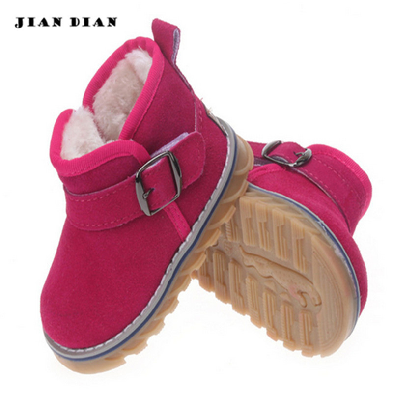 ФОТО JIANDIAN Winter Baby Boys And girls Booties Children Shoes Kids Ankle Boots Infant Suede Leather High Quality Snow Short Boots
