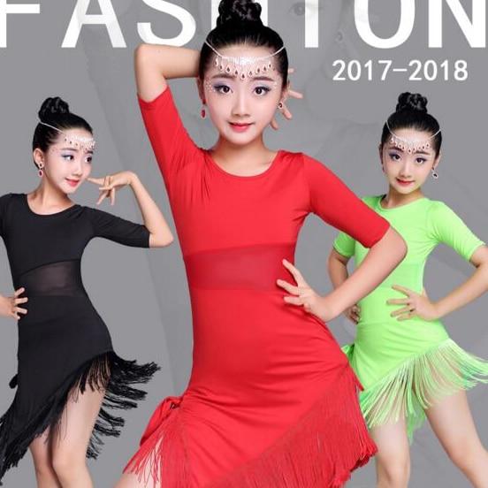 Mid Long Sleeve Lace Mesh Mordern Ballroom Dancing Dresses For Kids Sexy Salsa Tango Skirt Children Latin Dance Dress For Girls