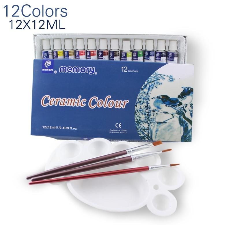 12 Colors 12ML Color Set Acrylic Paint Ceramics Paint Glass Paint Color Glass Drawing Hand Painted Pigments
