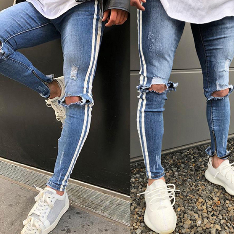 NIBESSER Ripped   Jeans   Men Slim Fit Hi-Street Trousers Mens Knee Hole Distressed Denim Skinny Pants Male Fashion Blue   Jeans