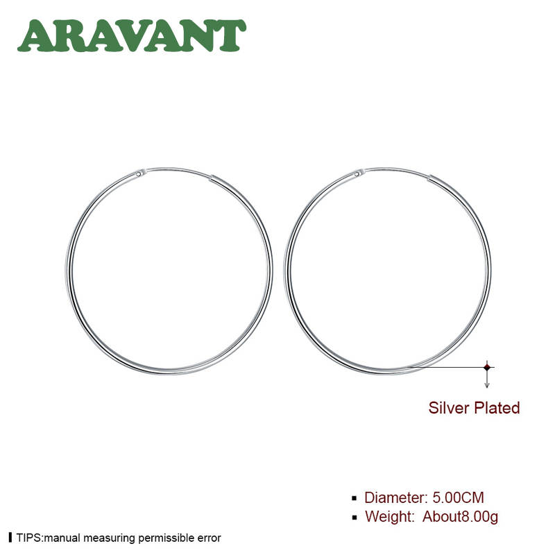 100% 925 Sterling Silver Hoop Earring For Women 50MM Big Round Circle Earrings Jewelry Gift 5