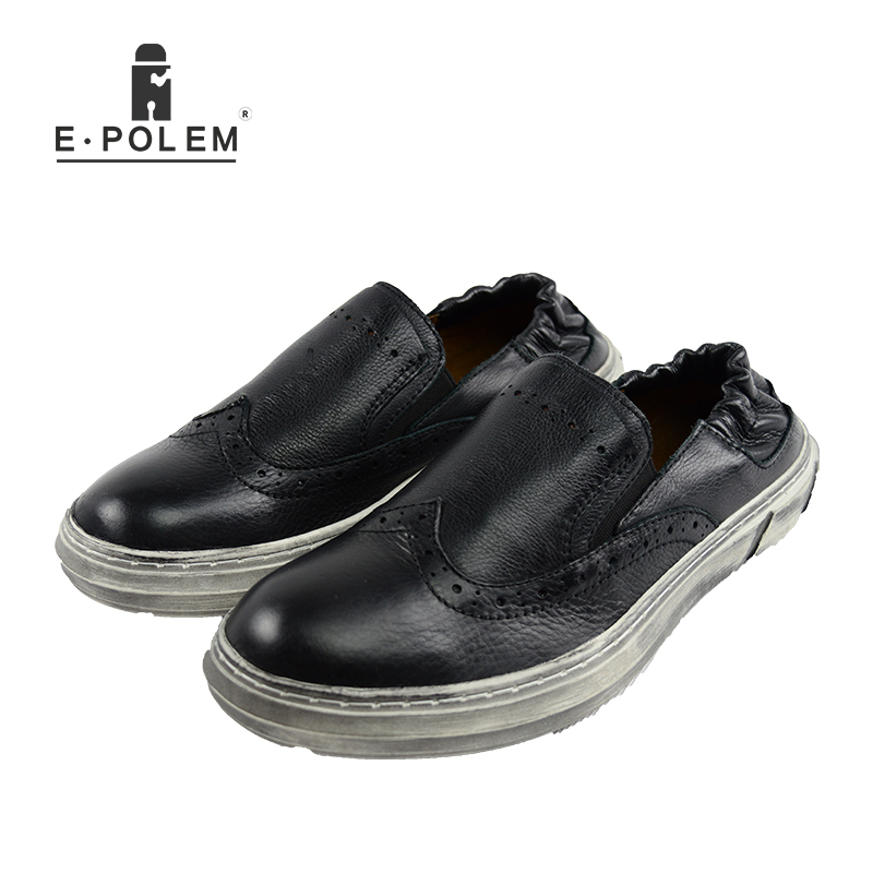 2017 Fashion Vintage Men Low Upper CasuaL Genuine Leather Shoes Spring Summer Black Slip On High Quality Men Loafers Flats Shoes ribetrini 2018 top quality slik upper crystals slip on spring summer shoes women flats comfortable date easy for walking