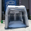 New design high quality 4m mobile sliver grey inflatable spray booth for car garage small paint booth for sale
