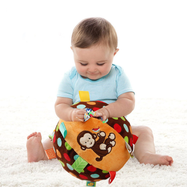 Gift for kids 1pc 18cm big cloth grasp ribbon monkey ball grasp colorful rattle high quality infant baby stuffed educational toy