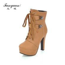 купить Fashion Thick High Heels Metal Buckle Punk Shoes Woman Zipper Lace-up Platform Ankle Boots for Women Yellow Motorcycle Boots дешево