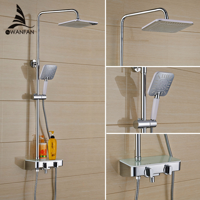 Shower Faucet Brass Chrome Wall Mounted Bathtub Faucet Rain Shower Head Square Handheld Slide Bar Bathroom Mixer Tap Set JP5035L new chrome finish wall mounted bathroom shower faucet dual handle bathtub mixer tap with ceramic handheld shower head wtf931
