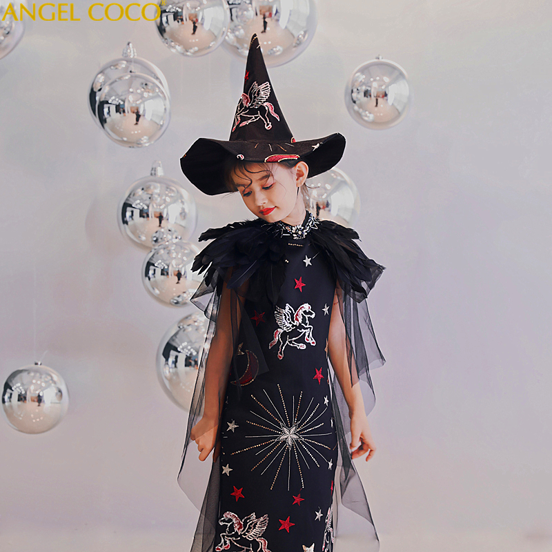 Black Gothic Halloween Costume For Kids Princess Carnival Costume Kids Girl Children Child Kid Fancy Dress Party Cosplay Girls halloween cosplay dress black cat girl costume children kids performance clothes girls carnival tutu mesh kitty dress with tail
