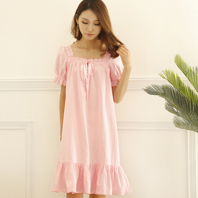 26cc076f52 Short Sleeved Pink Nightgowns for Women Sleepwear Viscose Ruffled Princess Night  Gown Lace Trim Summer Nightwear