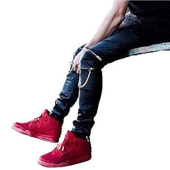 High Quantity PU Faux Leather Men Skinny Justin Bieber Clothes Slim Fit Hip Hop Hiphop Pants Zipper Swag Biker Jogger Kanye West