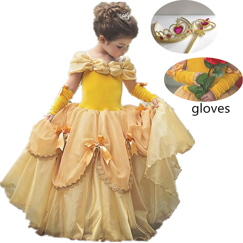2018 Baby Girl Dress Kids Princess Belle Cosplay Party Dress Halloween Birthday Costume Christmas Gift for