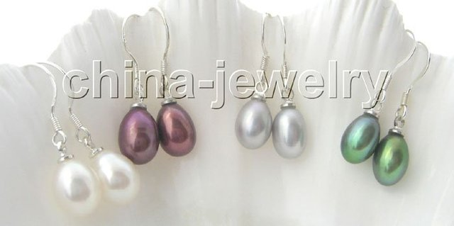 Gorgeous 4 pairs 9 - 10 mm natural perla barroca pendientes