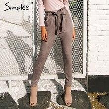 Simplee Suede high waist pencil pants capris Women bottom sa
