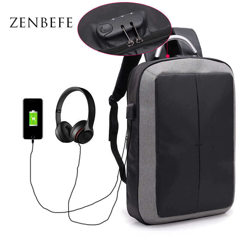 ZENBEFE Multifungsi Tas Sekolah Ransel Anti-pencurian USB Pengisian Cocok Untuk 15.6 Inch Laptop Ransel Tas Travel Kunci Password