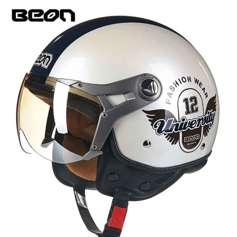 hot sale BEON motorcycle helmet vintage mens womens moto capacete half face helmet ECE Approved B100-in Helmets from Automobiles & Motorcycles    2