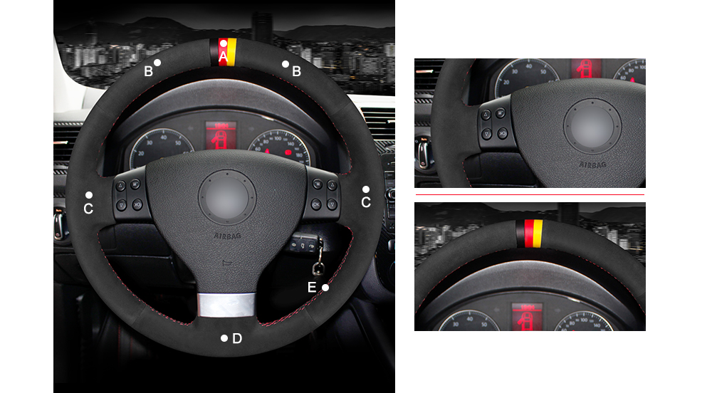 MEWANT Hand Stitched Black Suede Steering Wheel Cover Wrap For Volkswagen  Golf 5 Mk5 VW Passat B6 Jetta 5 Mk5 Tiguan 2007 2011 Steering Wheel Cover