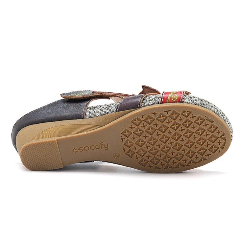 Genuino Beige Bohemio Flor Hecho Zapatillas Retro Cuero Deslice Cuña Socofy Tacones verde A Verano rojo De Zapatos Mano Mujer Sandalias TvBWYntqw