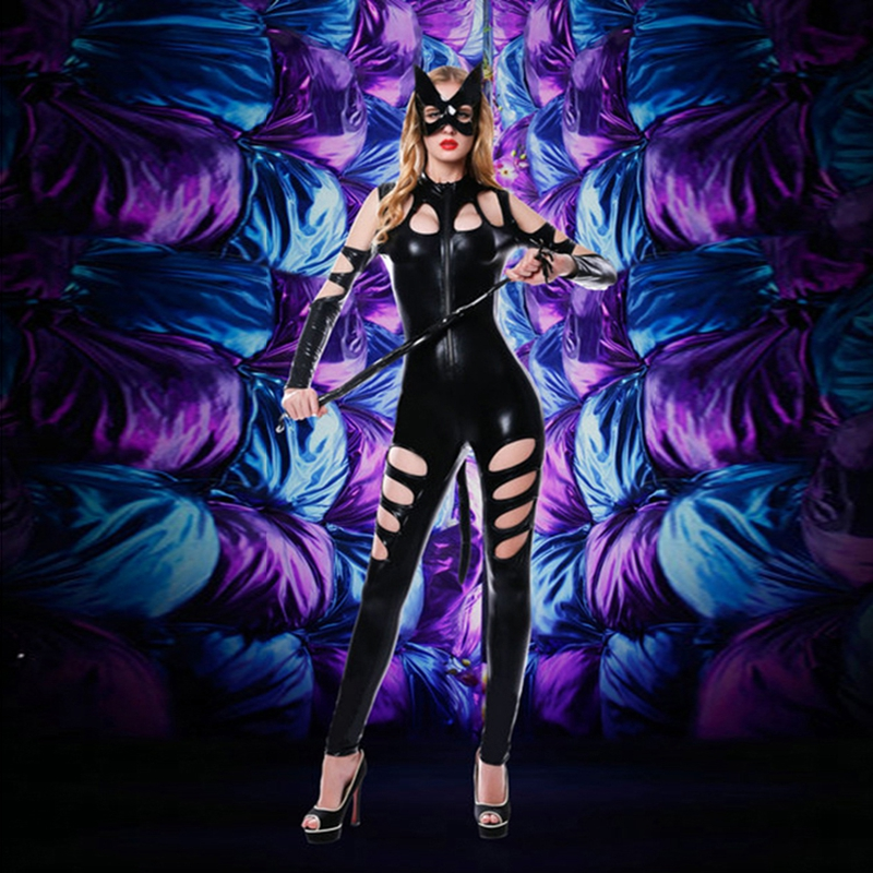 Women Black PU Faux Leather Catsuit Whip Face Mask Sexy Catwoman Costume Bodysuit Stretchable With Tail For Halloween 6022