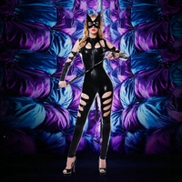 JSY Women Black PU Patent Leather Catsuit Whip Face Mask Sexy Catwoman Costume Bodysuit Stretchable With Tail For Halloween 6022