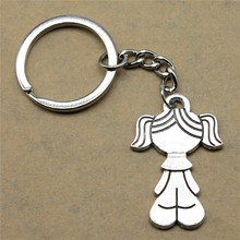 1 piece key chain Girl fashion jewelry birthday gift 40x18mm pendant antique silver