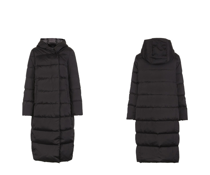 ONLY womens' winter new medium and long black down jacket Partial sill design Hooded collar|118312555 13