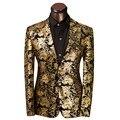 Más el Tamaño M-XXXL 2016 Marca de Ropa de Lujo de Los Hombres Traje Traje de Los Hombres Slim Fit Traje Homme Chaqueta Floral de Oro Vestido de Novia
