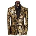 Plus Size M-XXXL 2016 Roupas de Marca de Luxo Homens Paletó Floral Dourado Terno Homme Traje Dos Homens Slim Fit Vestido de Noiva